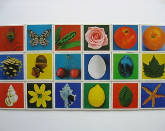 18 vintage Memory cards - flora and fauna playing cards game from 60's