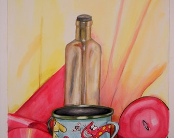 The Silly Lil Cup watercolor 11 quarter x 13 half in.