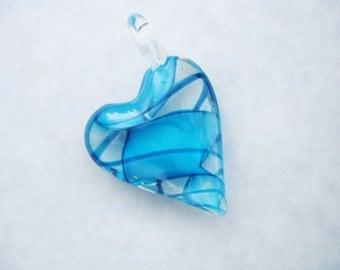 Glass heart, turquoise heart, murano glass, lampwork glass heart, glass pendant, heart pendant, large heart pendant, heart necklace, hearts