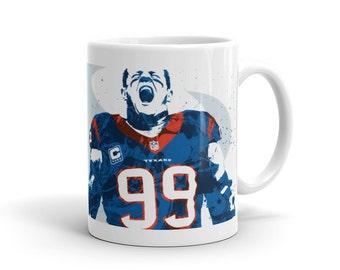 JJ Watt Houston Texans Football Mug, Sports Art Print, Home Decor, Watercolor Contemporary Abstract Drawing Print, Man Cave