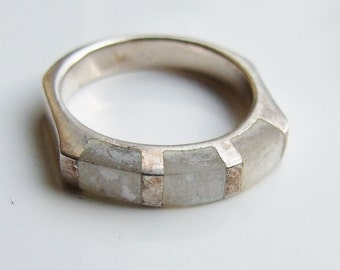 Vintage 925 Sterling Silver Mother Of Pearl Ring Size 6 - L 1/2