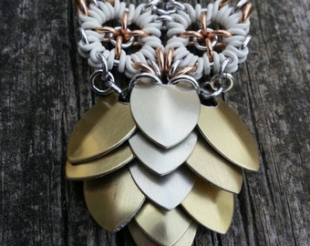 Owl Chainmaille Pendant with Chain or Brooch / Pin