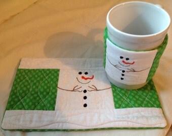 Mug rugs, cup cozy , Santa mug rug and cup cozy, snowman mug rug and cup cozy, personalized mug rug