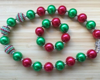 Christmas Chunky Necklace Red  Green Beads Necklace & Bracelet Chunky Bubblegum Bead Necklace Childrens Costume Jewelry Fall Birthday