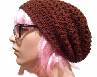 Brown Beanie // mens womens // slouchy beanie hat // slouch beanie hat // brown slouch beanie // crochet beanie hat // handmade crochet hat