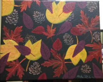 Acrylic painting, leaves, pinecones, Fall Colors