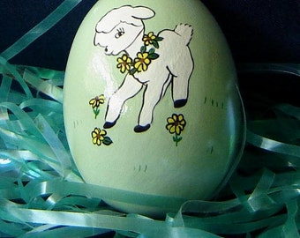 Easter Egg with Easter Lamb - Ceramic Easter Eggs - Easter Decorations - Ceramics for Easter