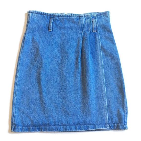 vintage 90s high waisted denim jean skirt