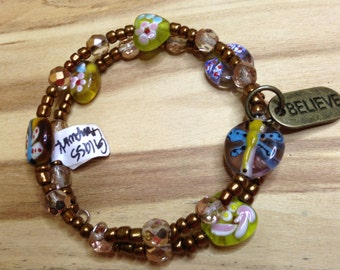 "Golden, Dragonfly ""Believe"" Bracelet"