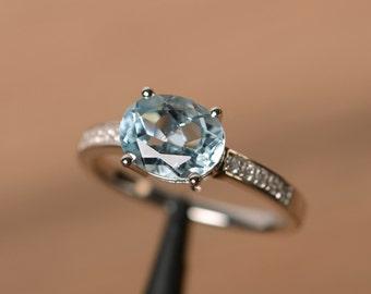 natural aquamarine ring March birthstone ring oval aquamarine promise ring