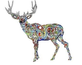Deer Art, Stag Art, Elk Art, Nature Art, Spiritual Art, Spirit Animal, Fine Art, Third Eye, Matted Art, Reclaimed Wood Frame, Canvas Prints