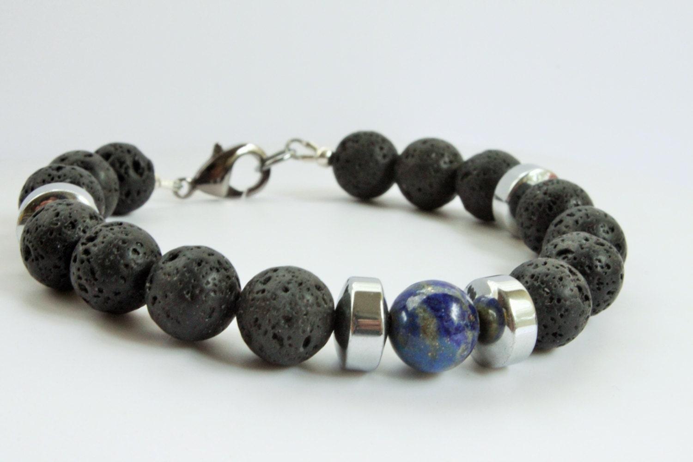 mens lava rock bracelet beaded bracelet lapis lazuli