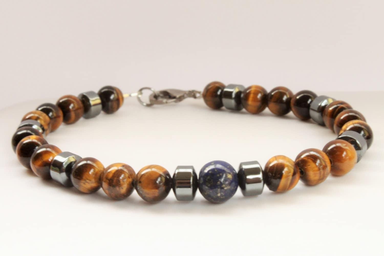captivating mens tiger eye bracelet lapis lazuli mens