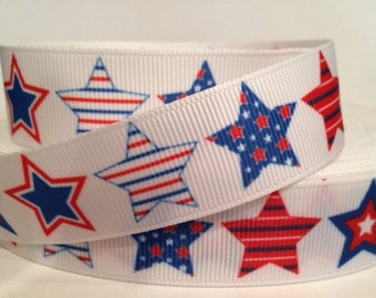 4th of July Americana Ribbon Grosgrain - 7/8 inch Grosgrain Ribbon - Red, White and Blue Stars - 4th of July Ribbon - 4th of July Craft