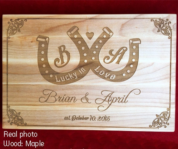 Lucky Wedding Gifts: Cutting Board Wedding Gift For Couple Personalized By
