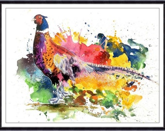 PHEASANT Watercolor Print 063