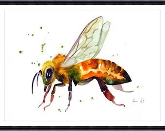 Honey Bee, Original watercolor painting,Art Print, Bee lover art bee painting