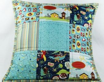 Quilted Throw Pillow, Quilted Pillow Cover, 18x18 Pillow Sham, Baby Boy Nursery, Blue Patchwork