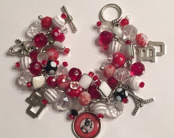 Boston University Hockey Charm Bracelet with various Red, White and Clear Beads
