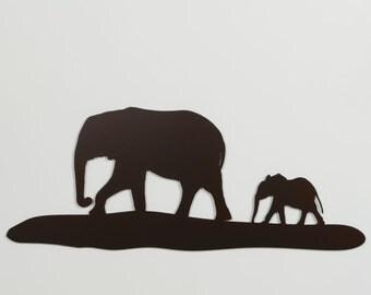 "Elephants 1 Silhouette - Metal Wall Art - 21"" wide - With Hanger - (MM6---)"