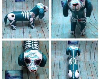Day of the Dead - Painted sugar skull - dog sculpture - dashchund - Dia de los Muertos - hand painted - calavera - Halloween decor
