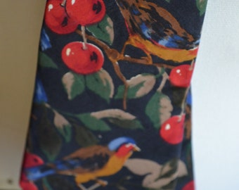 Vintage Cherries and Robins Full Length Necktie by Lord Taylor (Kensington Collection)