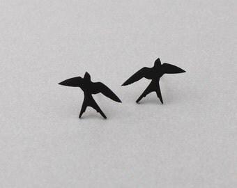 Matt opaque black plated tiny Swallow earrings, 925 sterling silver EarStud, swallows bird earrings, sterling silver post earrings