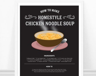 Chicken Noodle Soup Print, Kitchen Wall Art, Kitchen Recipe Print, Chicken Soup Print, Soup Recipe, Kitchen Art, Kitchen Print, Recipe Art
