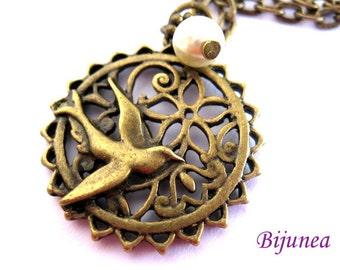 Bird necklace - Bird brass necklace - Big bird necklace -Bird jewelry - Bijunea bird jewelry necklace n355