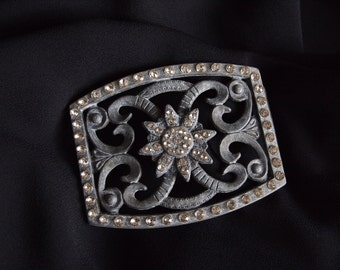 Vintage Rhinestone Buckle Flower Belt Buckle