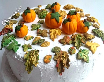 Edible sugar pumpkins leaves leafs halloween cake cupcake toppers