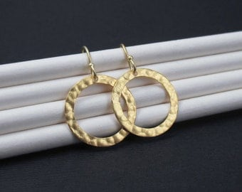 Gold Hoop Earrings, Textured Circle Earrings, Vermeil Circle Earrings, 22k Vermeil Dangles, Drop Earrings. Simple Modern Gold Jewelry