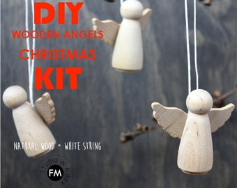 DIY Christmas Decorations / Ornaments KIT - Wooden Angels - Wood