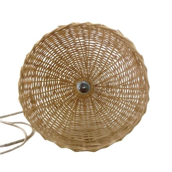 Woven Basket Lamp : Woven wicker basket lamp large handmade pendant light natural