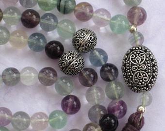 99 Fluorite Sufi Islamic Muslim prayer beads meditation gemstone 8mm bead tasbih misbaha  Ref 12156
