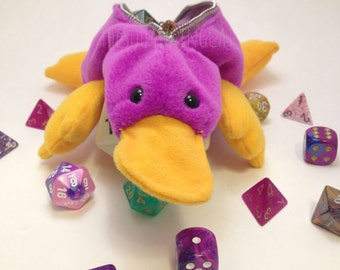 The Purple Platypus - Platypus D20 Dice Bag - Dice Bags - Platypus Bag - Animal Bag