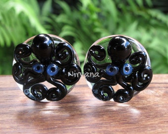 "Black Octopus on Clear Plugs Pyrex Glass One Pair - 00g 7/16"" 1/2"" 9/16"" 5/8"" 3/4"" 1"" 9.5 mm 10 mm 12 mm 14 mm 16 mm 18 mm 20 mm 25 mm"