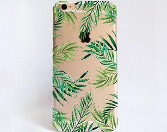 Transparent Tropical Leaves Case Design for all phone models