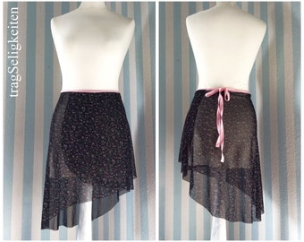 Black mesh ballet skirt, dance skirt, wrap skirt with flower print, asymmetrical cut, black ballet skirt, dance wear, super light fabric