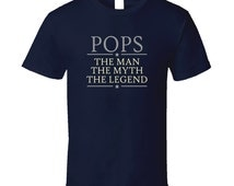 Pops The Man The Myth The Legend T Shirt Grandpa Grandfather T Shirt Tee Shirt Gift Fathers day birthday gift for him