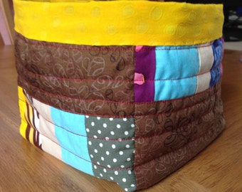 Basket/box/storage container with waterproof lining. Patchwork, quilted and reversible