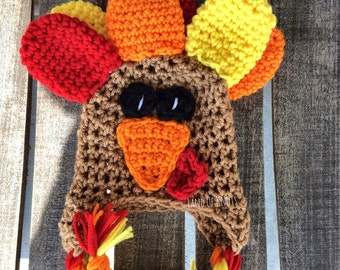 Crochet turkey hat, baby turkey hat, infant turkey hat, newborn turkey hat, crochet baby turkey hat, baby fall hats, costume turkey hat.