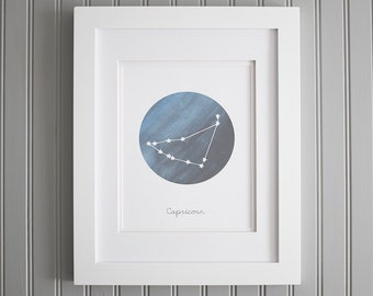 Constellation Capricorn Wall Art, Star Sign Print, Astronomy Capricorn Print, Capricorn Star Poster, Star Sign Zodiac Print