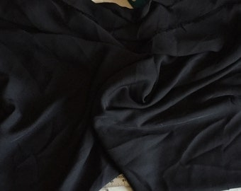 100% Silk Georgette (Double Chiffon) in Black, 1 3/4 yard piece, 58 inches wide, amazing quality