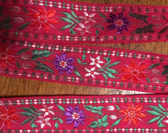 Beautiful red floral ribbon purple, green and red florals, red background, edging, 1 3/8 inches wide, French