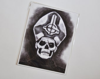 Ghost portrait - 8 x 10 print  - Papa Emeritus - Metal - Skull - Satanic - Dark Pope - Nameless Ghouls - skull - Tobias Forge - satanism