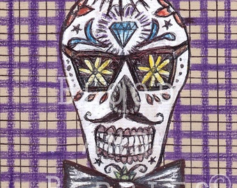 Hipster Sugar skull illustration - 8 x 10 art print  - day of the death - retro - dia de los muertos - contemporary art