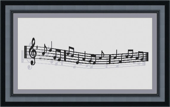 Treble Clef Music Notes Counted Cross Stitch Pattern 28.14 X