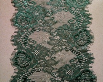 """Dark green table runner, 12"""" wide ,white lace table runner , lace table runner,  wedding runners, lace table runner, table runners,  R160901"""