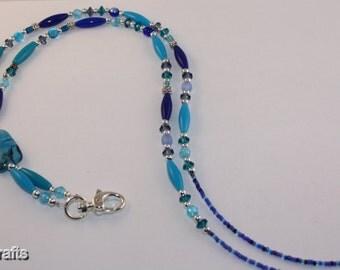 Blue Bead Lanyard